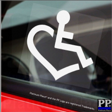 1 x Disabled Heart Wheelchair,Car,Van Sticker-Disability Mobility Sign Window Sticker,Sign Handicapped